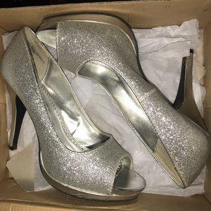 Silver Sparkle Rampage Heels